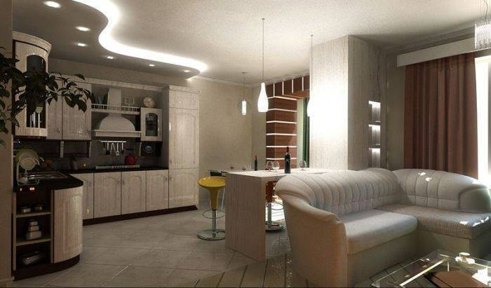Перегородка между кухней и гостиной: 60+ фото, красивые варианты зонирования