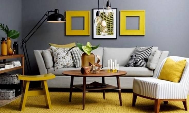 Сочетание цветов в интерьере гостиной (69 фото): отделка в коричневых и сиреневых тонах, зеленая стена с бежевым рисунком
