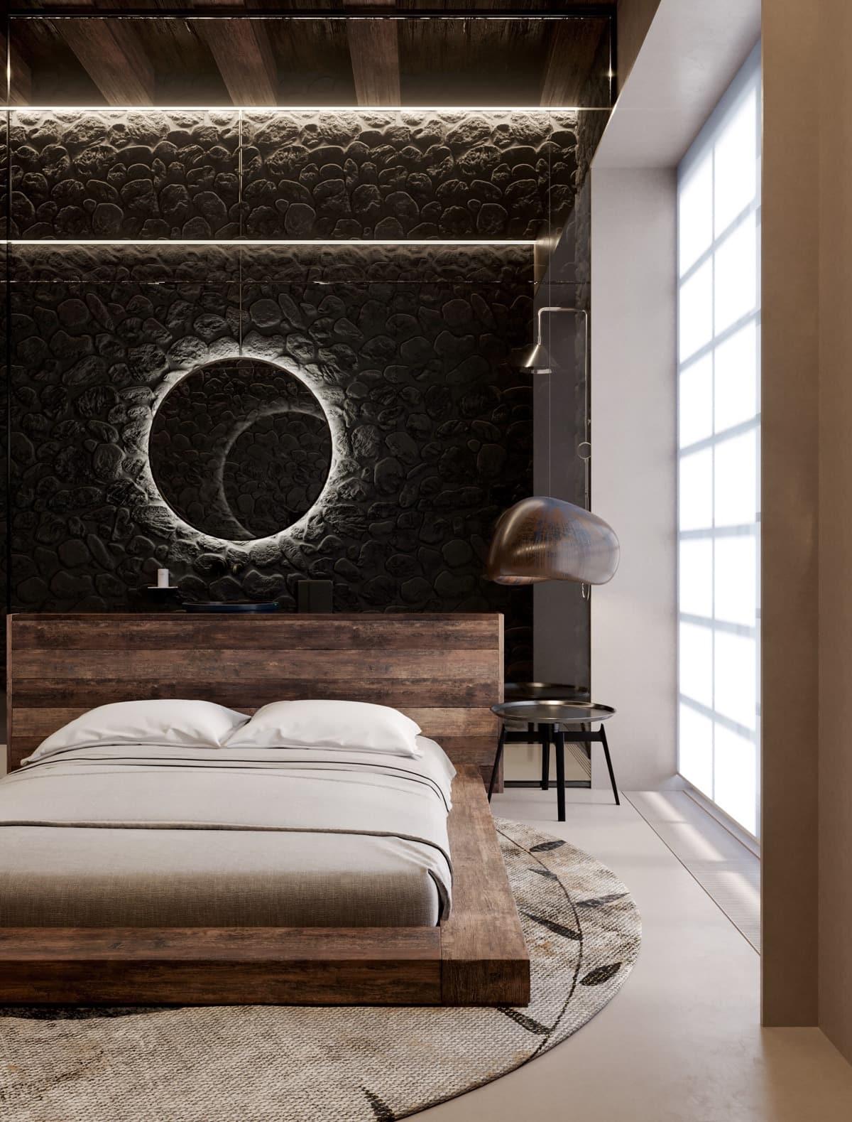 Оформление окна в спальне в современном стиле - 45 фото