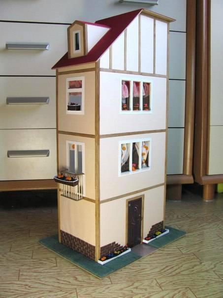 Кукольный домик своими руками (70 фото): варианты из фанеры, дерева, коробок, чертежи с размерами