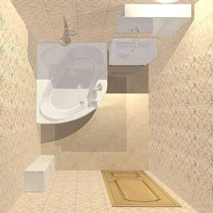 Дизайн ванной комнаты с угловой ванной - идеи планировки + фото