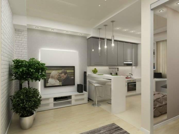 Квартира 45 кв. м: дизайн однокомнатной, фото ремонта, интерьер, стоимость ремонта, планировка евродвушки