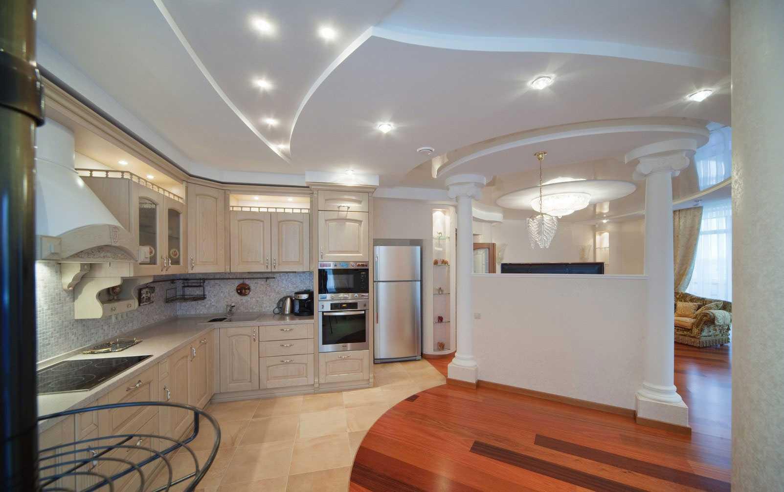 Перегородки между кухней и гостиной: зонирование с помощью раздвижных стеклянных изделий, красивый дизайн разделения из гипсокартона
