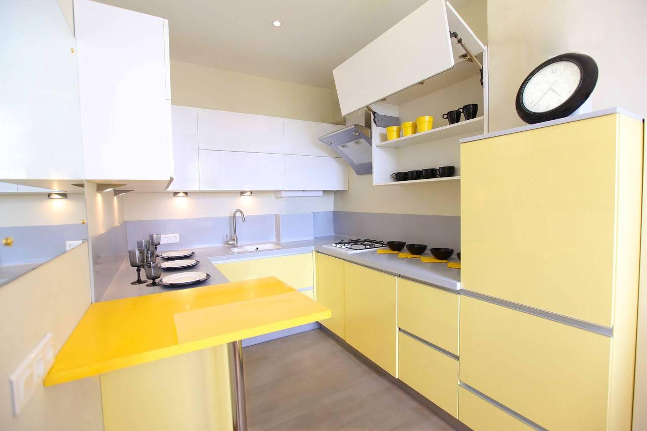 Дизайн желто-зеленой кухни: сочетание цвета, реальные фото