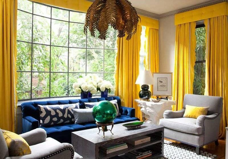 Позитивная гостиная в желтых тонах - 100 фото примеров