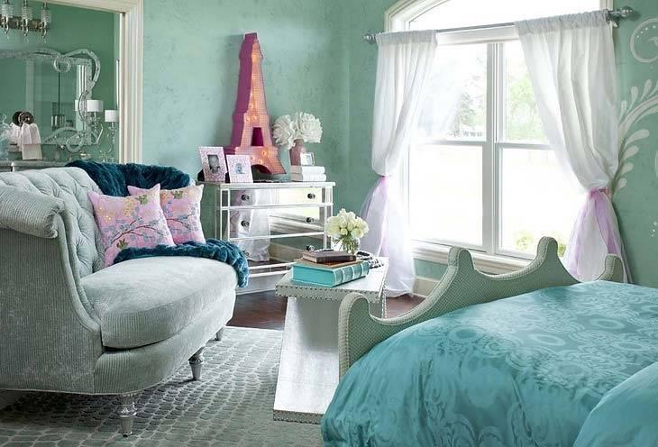 Бирюзовые обои для стен: 55 фото идей для гостиной, кухни, спальни и детской