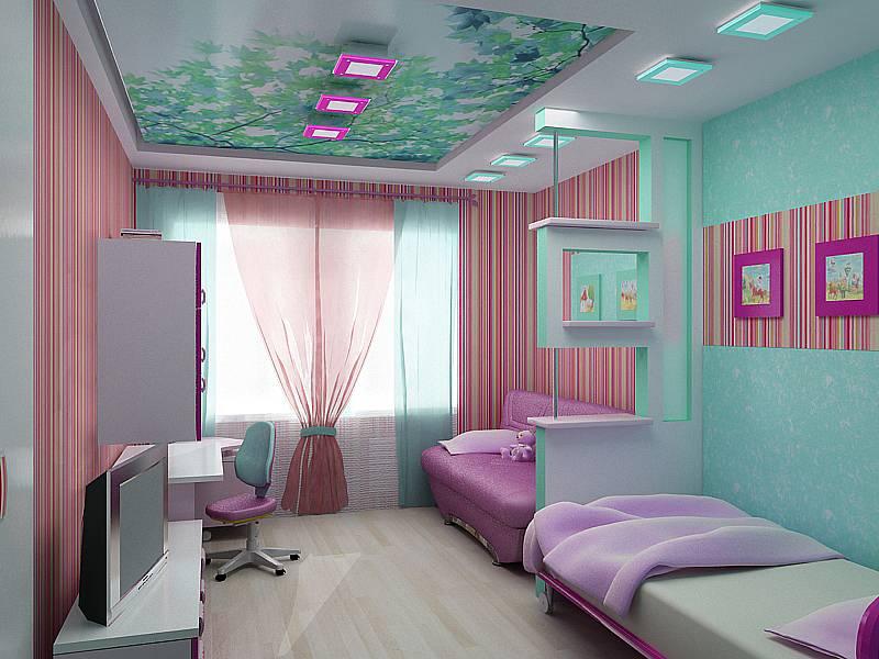 Интерьер детской комнаты для двух девочек фото