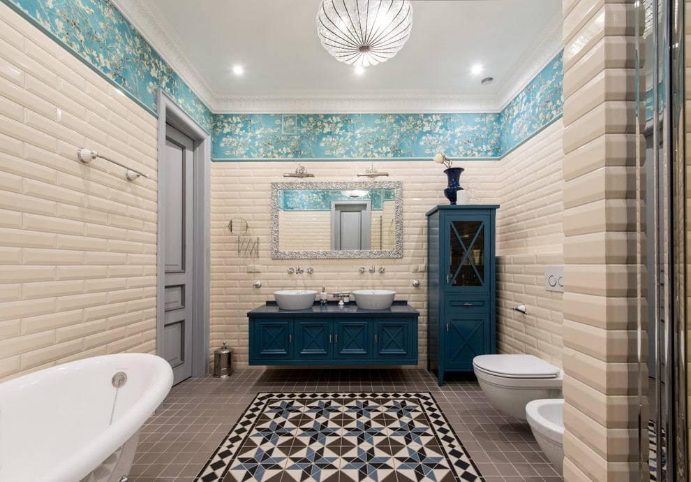 Варианты раскладки плитки в ванной комнате, подходящие способы укладки для маленькой ванной, фото