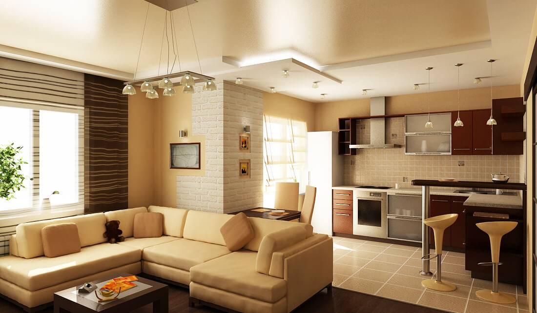 Лучшие идеи по зонированию кухни и гостиной