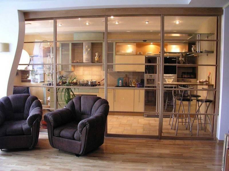 Перегородки между кухней и гостиной — обзор стильных решений