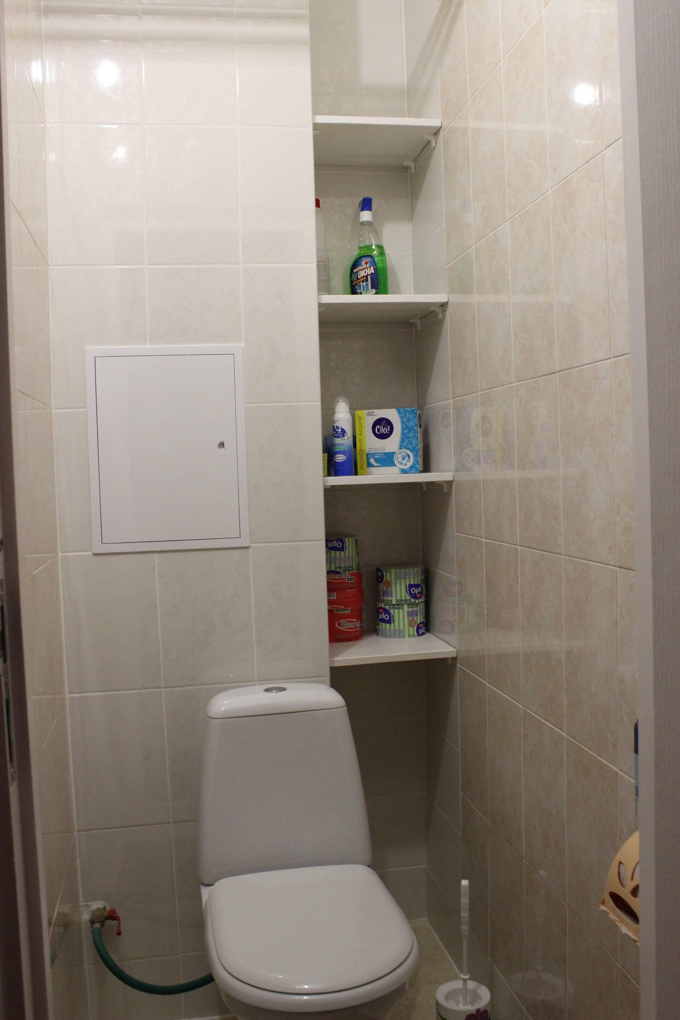 Как разместить шкафчик за унитазом? полки в туалете