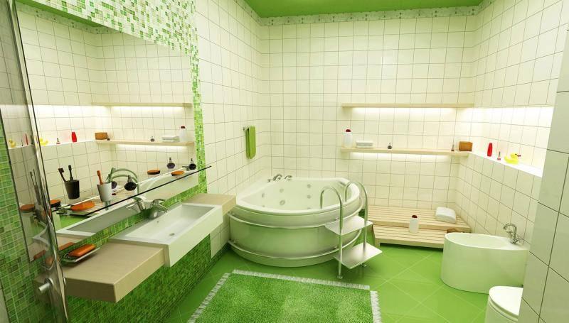 Дизайн ванной комнаты с угловой ванной: фото интерьера