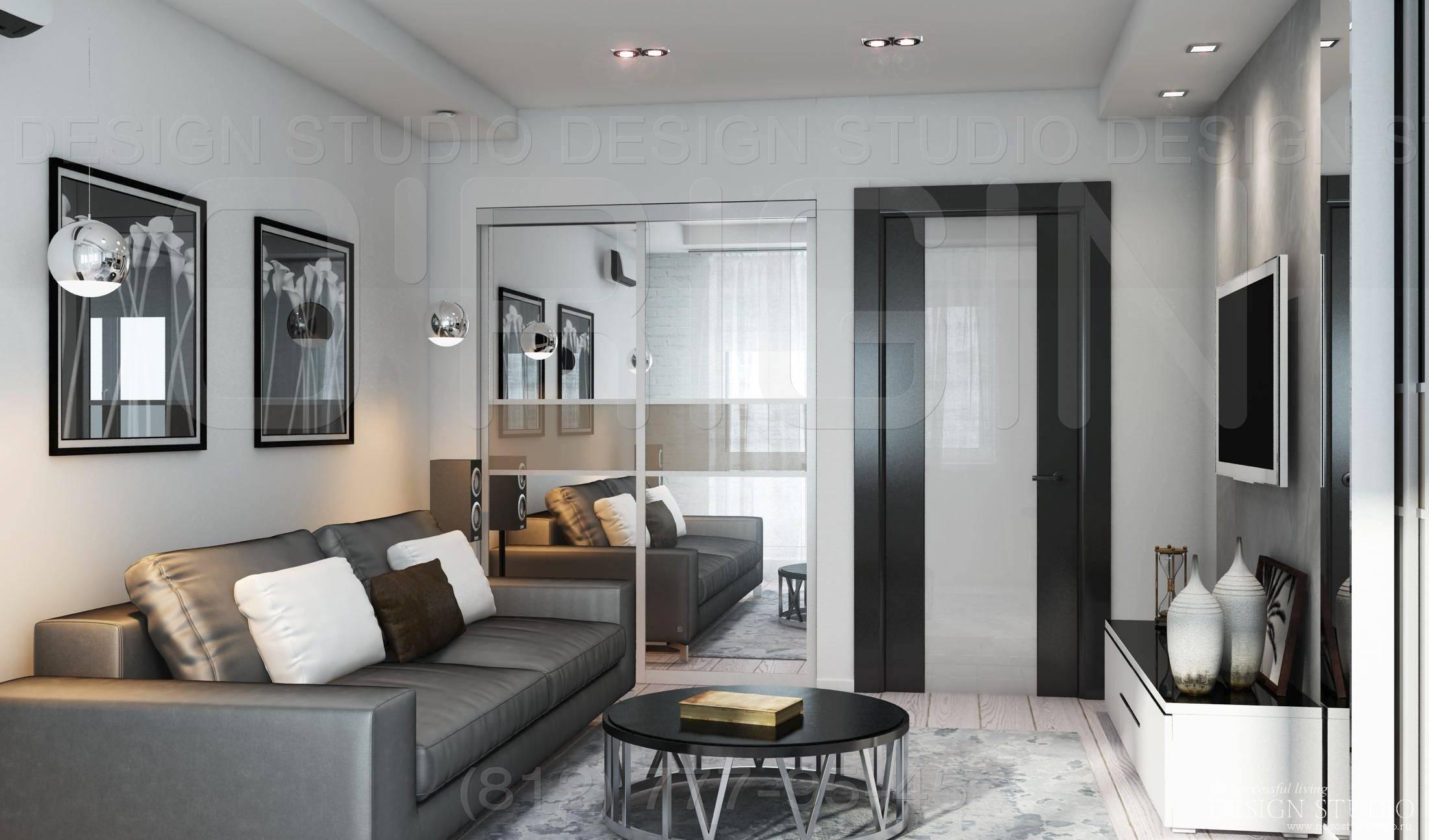 Квартира 42-43 кв.м: дизайн однокомнатной и двухкомнатнойхрущевки,ремонт, варианты планировок, фото стильного интерьера