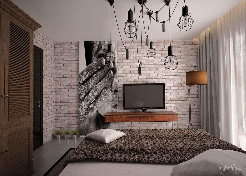 Спальня в стиле лофт - варианты оформления, 66 фото