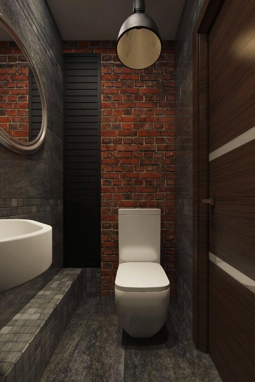 Туалет и санузел в стиле лофт [60+ стильных интерьеров]