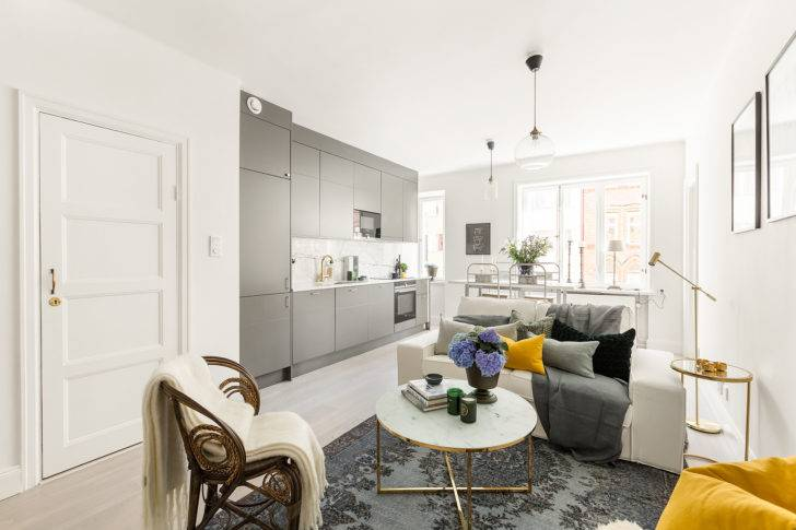 Дизайн однокомнатной квартиры площадью 50 метров для холостяка