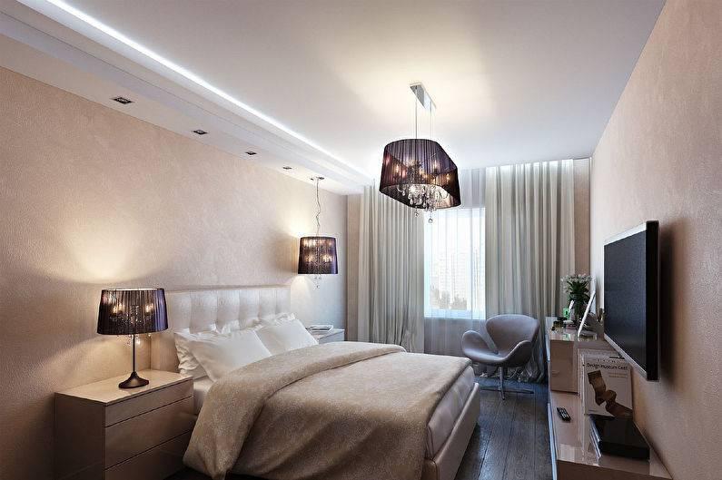 Освещение в спальне с натяжными потолками — как лучше сделать