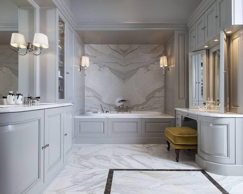 Красивый дизайн ванной комнаты в классическом стиле