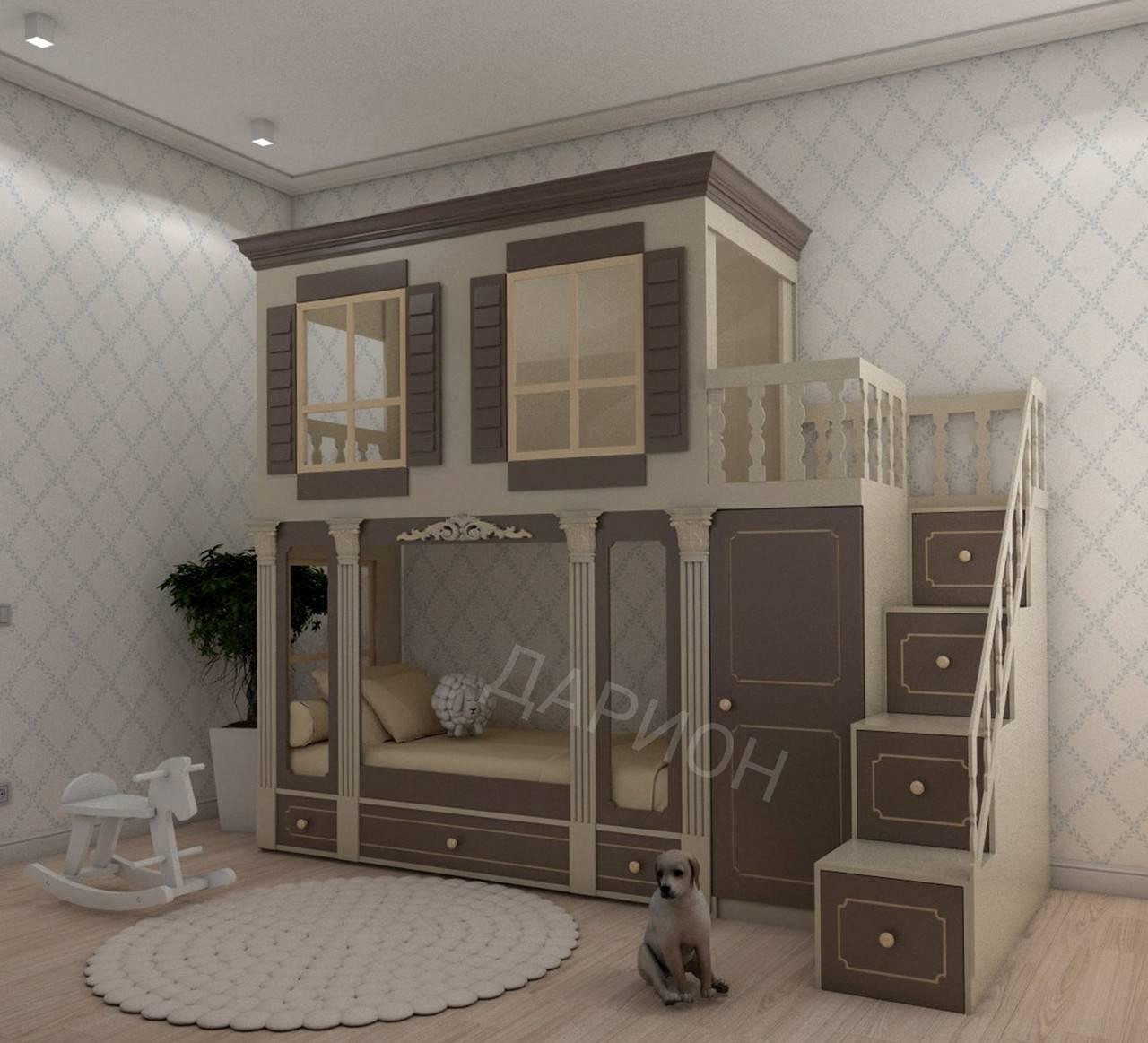 Детские комнаты с двухъярусной кроватью - фото примеров