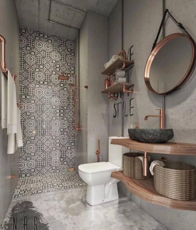 Ванная комната в стиле лофт – фото дизайна интерьера