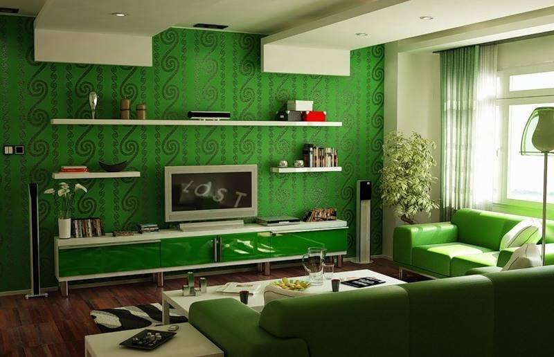 Особенности использования зеленых обоев для оформления интерьера вашего дома