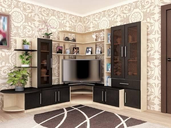 Горки под телевизор в зал (56 фото): выбираем угловые мини-стенки под телевизор 55 дюймов в гостиную, горки с камином и нишей, другие модели