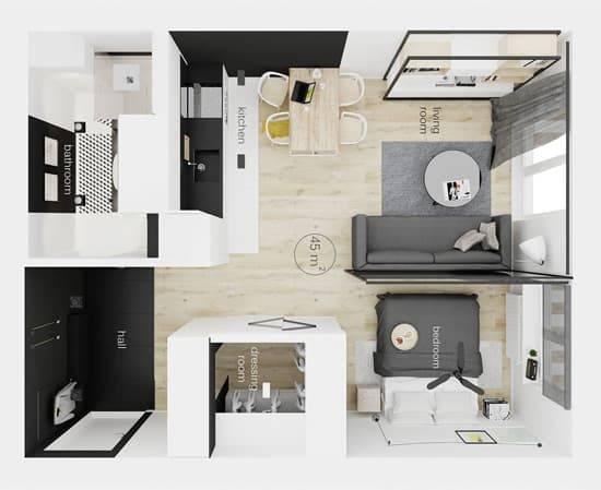 Как сделать двухкомнатную квартиру из однокомнатной? 78 фото лучшие идеи перепланировки однушки в двушку. реальные примеры
