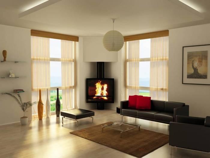 Дизайн интерьера спальни с двумя окнами по разным стенам
