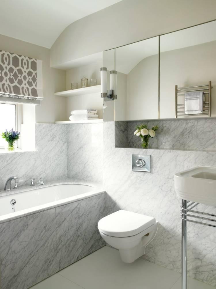 Ванная комната под мрамор - дизайн решения и сочетание с деревом