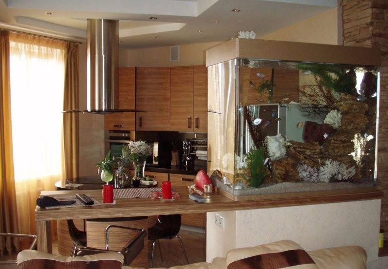 Перегородка между кухней и гостиной: 70 фото дизайна перегородки, виды