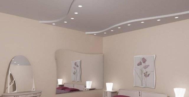 Освещение в спальне с натяжными потолками (35 фото): как расположить потолочные точечные светильники? расположение света на матовых и глянцевых потолках в интерьере спальни