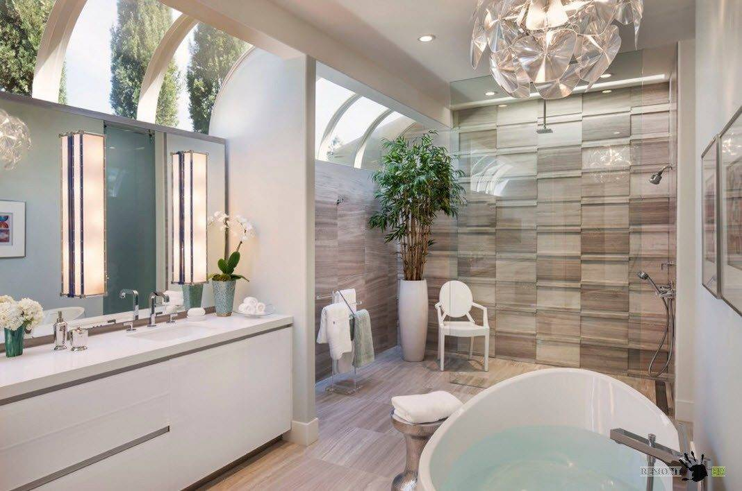 Красивый дизайн современной ванной   интерьер в современном стиле