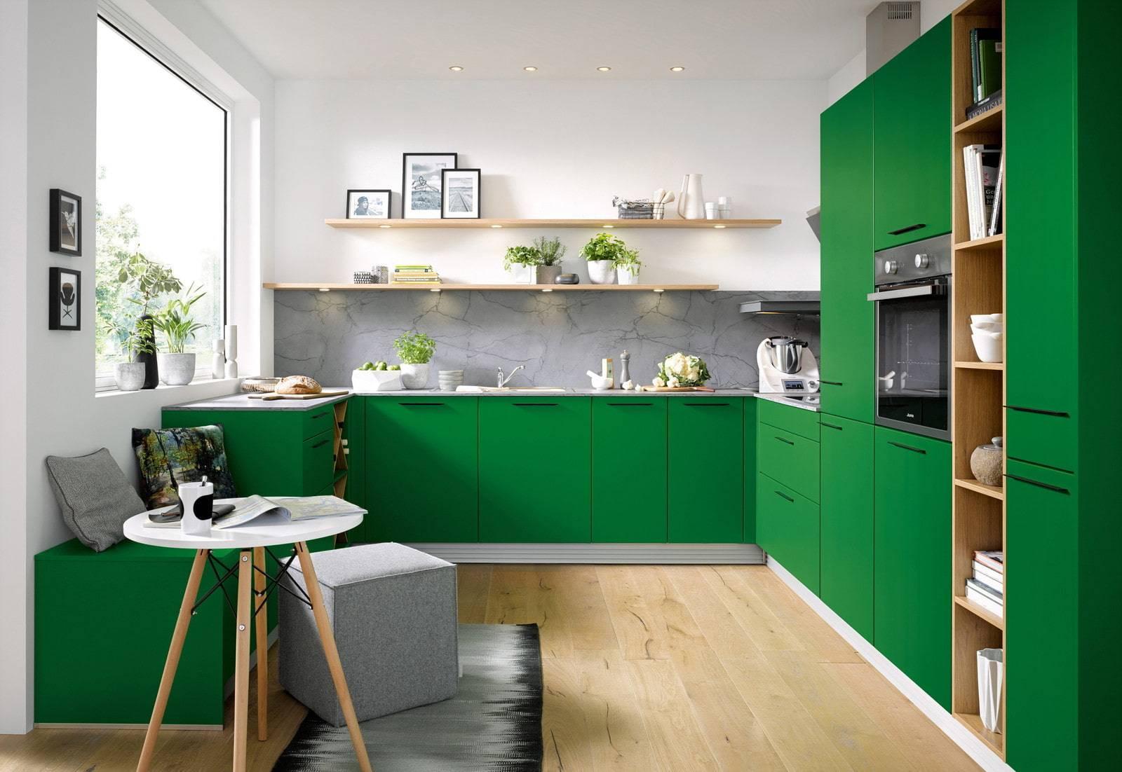 Зеленый кухонный гарнитур: особенности выбора, сочетания, 60 фото