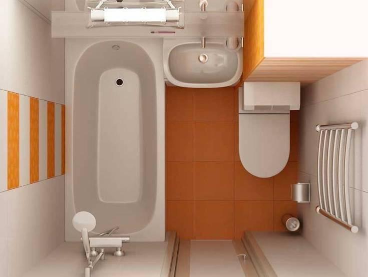 Интерьер ванной и санузла соединенных вместе