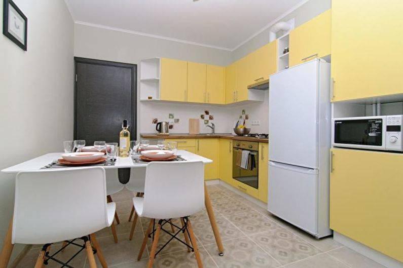 Желтая кухня — 104 фото в интерьере, дизайн и сочетания цветов, кухонные гарнитуры