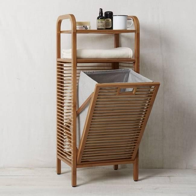 Корзины для белья в ванную комнату плетеные или деревянные, выдвижные угловые из бамбука и пластика, мебель со встроенными бельевыми контейнерами