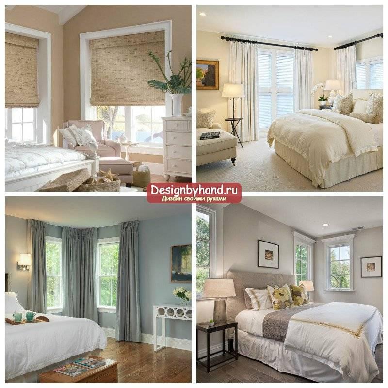 Спальня с двумя окнами на разных стенах - 40 фото идей дизайна