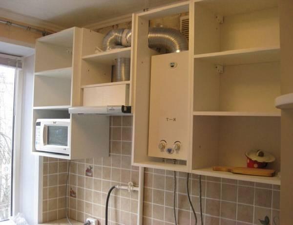 Варианты дизайна кухни в хрущевке с газовой колонкой