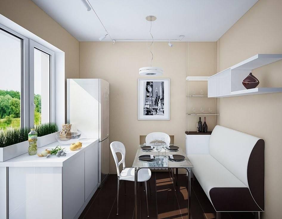 Диван-кушетка со спальным местом в интерьере кухни