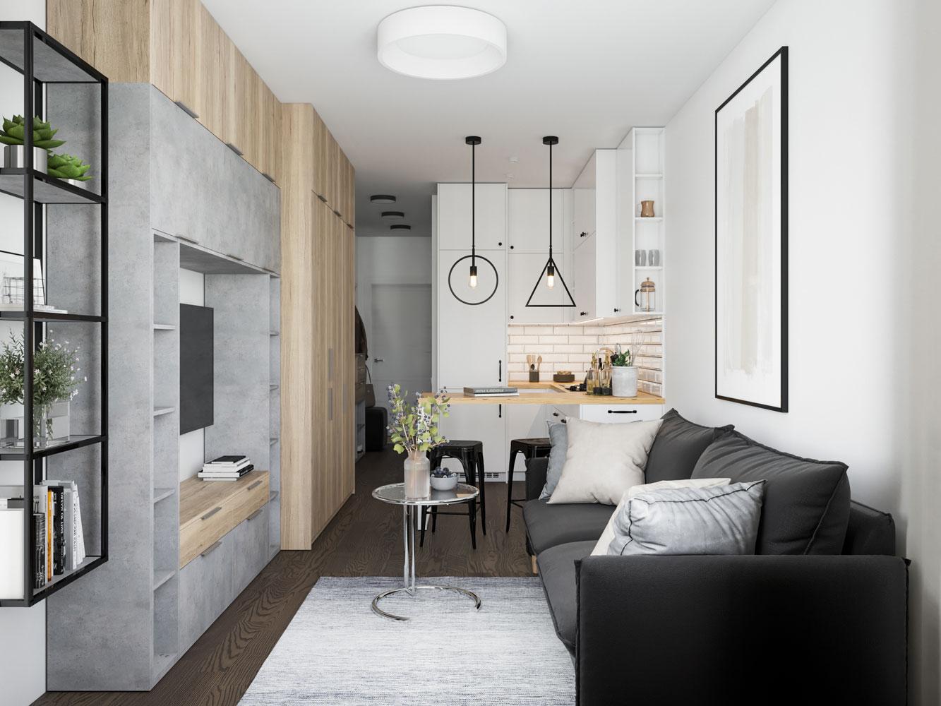 Дизайн студии 22, 21 кв. м. (48 фото): планировка квартиры с балконом, дизайн кухни