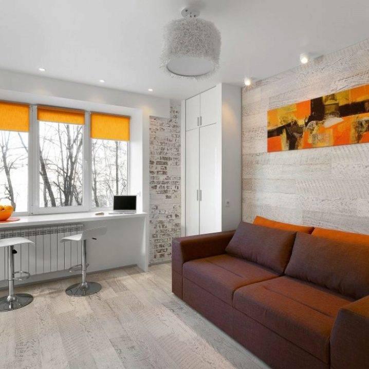 Квартира – студия 22-23 кв. м: дизайн, варианты цветов расстановки мебели