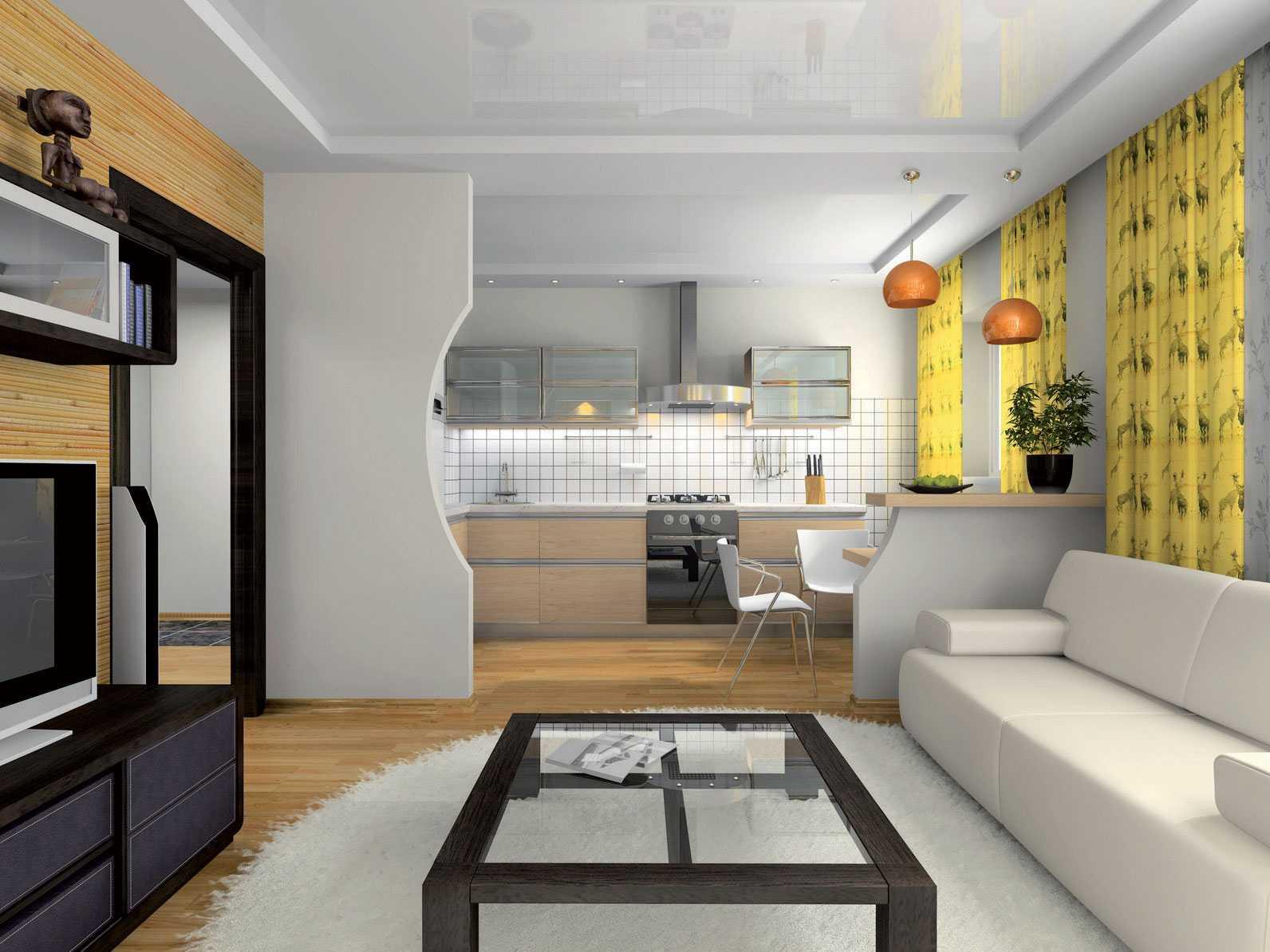 Перегородка между кухней и гостиной: как оформить декоративное зонирование