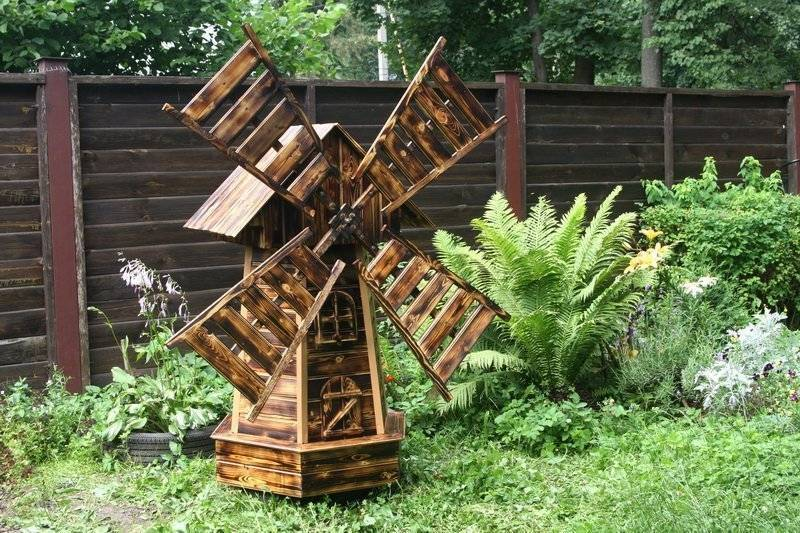 Декоративная мельница для сада своими руками - технология (+фото, чертежи)