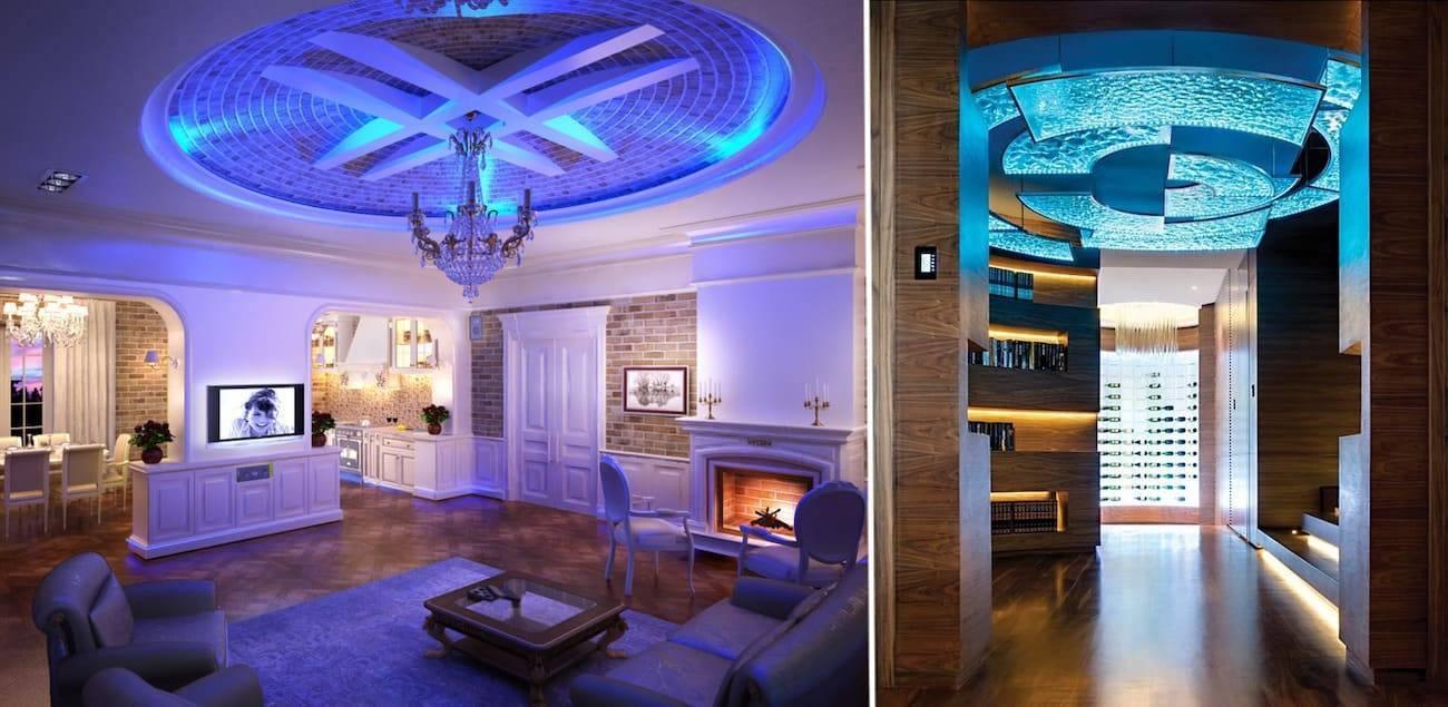 Потолки из гипсокартона в зале частного дома - различные варианты оформления
