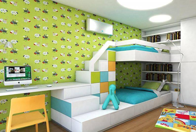 Детская комната для двух девочек - реальные интерьеры (45 фото)