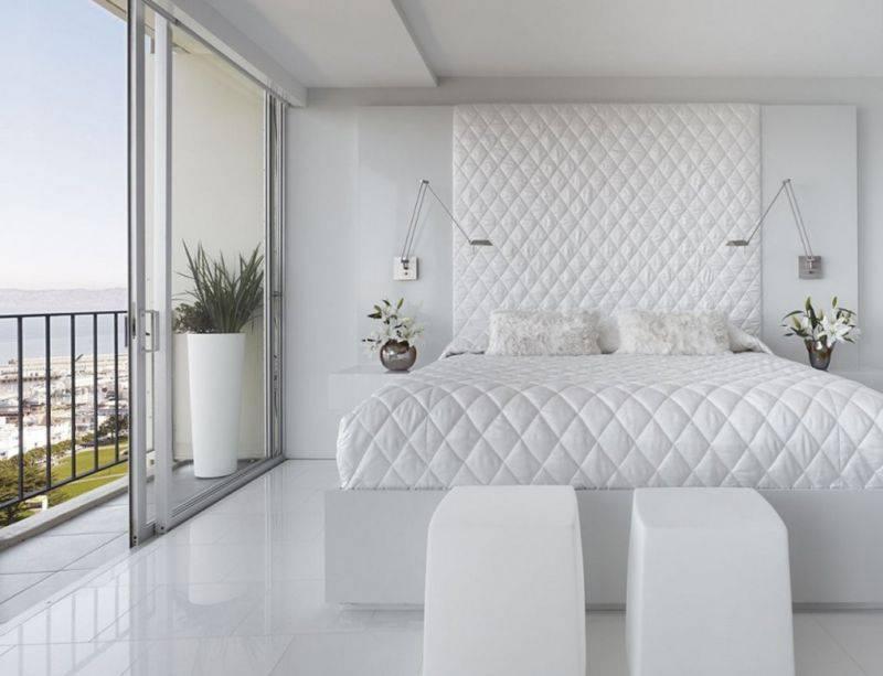 Современная спальня в белых тонах: 125+(фото) дизайна интерьера