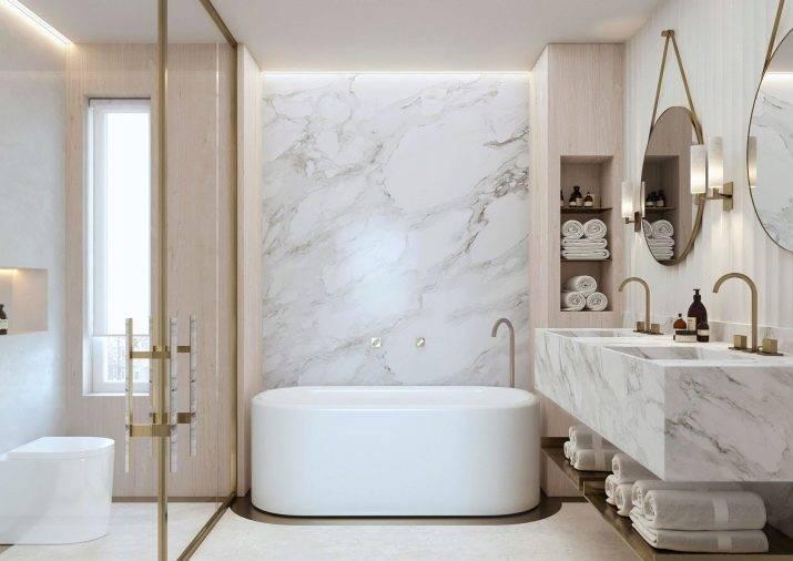 Мраморные ванные комнаты (98 фото): ванны под мрамор в дизайне комнаты, сочетания белого мрамора и дерева в ванной, примеры интерьеров