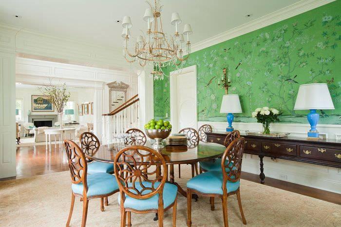 Зеленые обои в интерьере комнат: 75 фото примеров дизайна