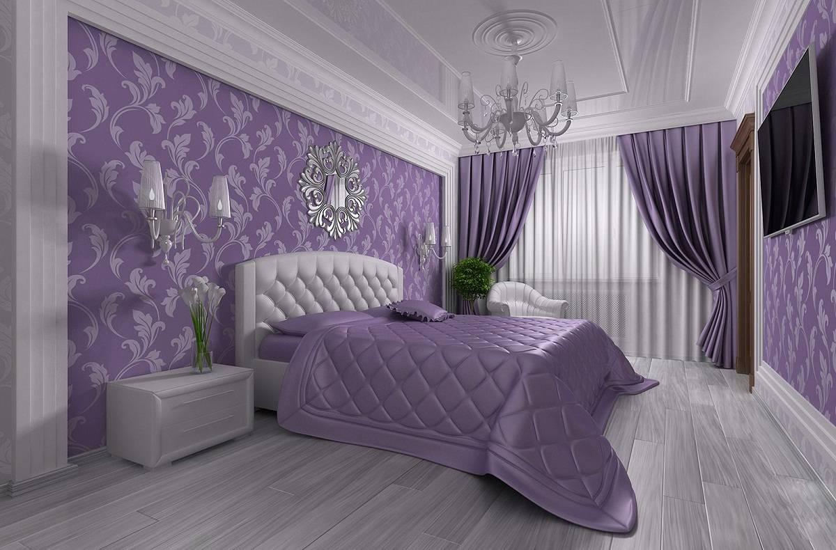 Дизайн интерьера спальни с мебелью, оформленный в белых тонах