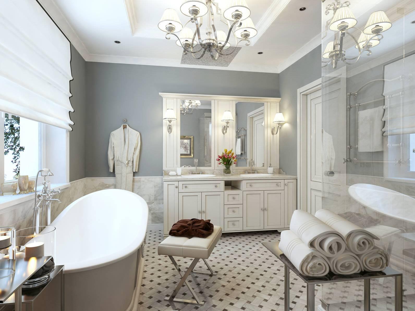 Ванная в классическом стиле: уютных и практичных решений (105 фото)
